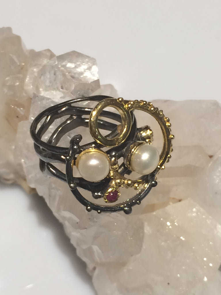 Double Pearl Swirl Ring SKU 543