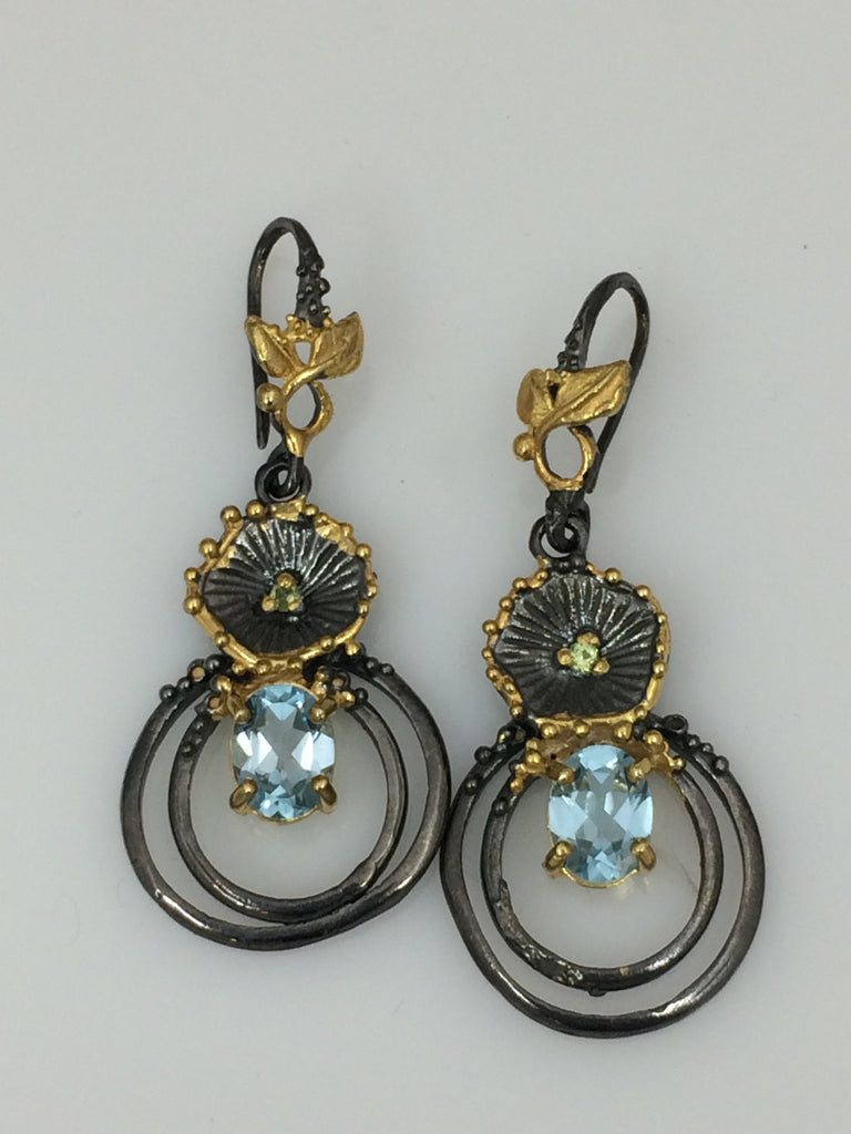 Blue Topaz and Peridot Earrings SKU 564