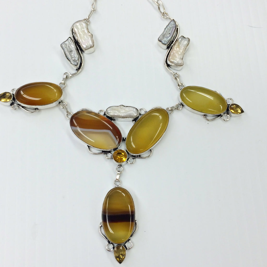 Banded Onyx necklace         SKU 015
