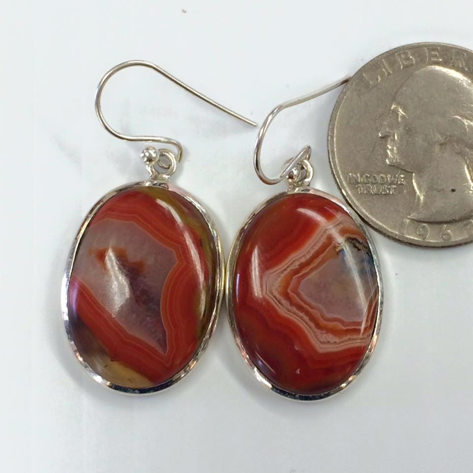 Red Lace Agate Earrings  SKU 123