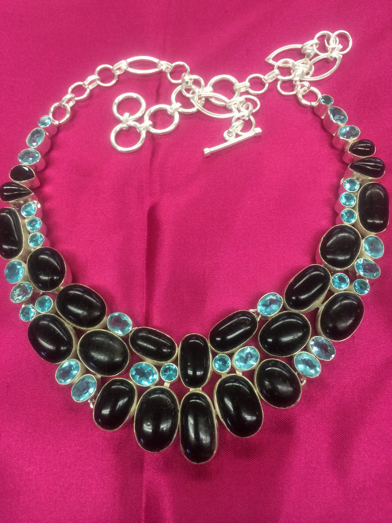 Natural Black Onyx Necklace + Earrings Set  SKU 100