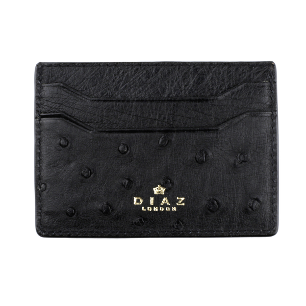 Black Genuine Ostrich Leather Cardholder