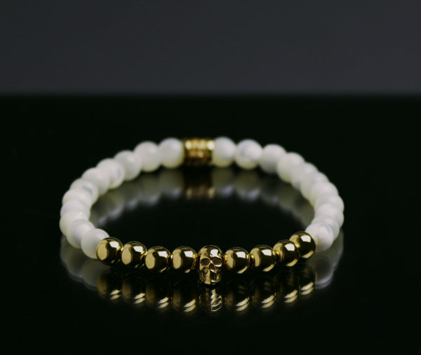 Mother of Pearl & 24K Vermeil Skull Bracelet