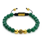 Green Jade & 24K Gold Vermeil CZ Diamonds Shamballa Bracelet