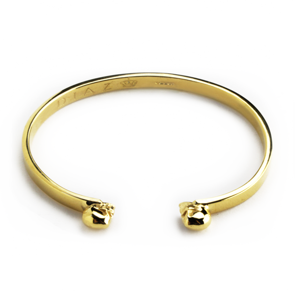 24K Gold Vermeil Hand-crafted Twin Skulls Bangle