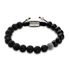 Lava Stone, Onyx with CZ Diamonds Shamballa Bracelet