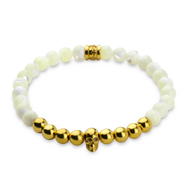 Mother of Pearl & 24K Gold Vermeil Skull Bracelet