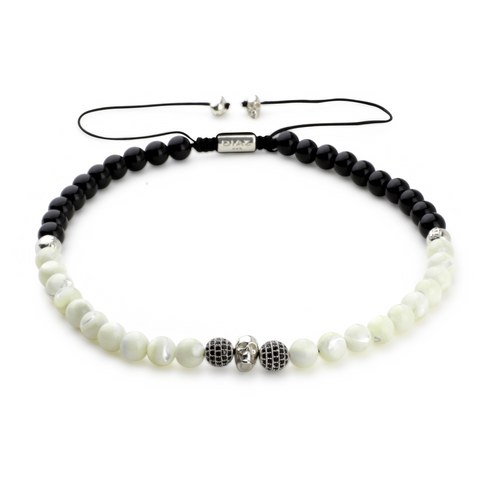 Mother of Pearl & Onyx With Sterling Silver Skulls and Buddha Chocker Necklace