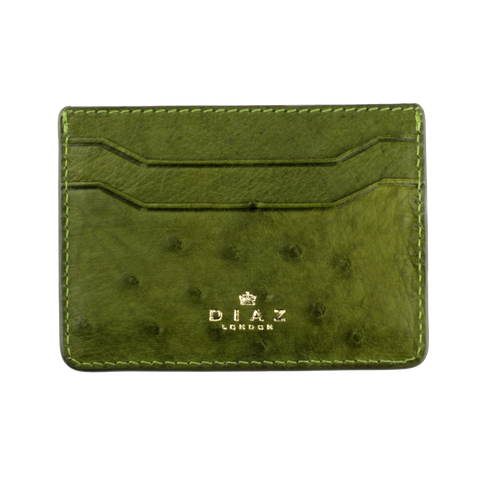 Olive Green Genuine Ostrich Leather Cardholder