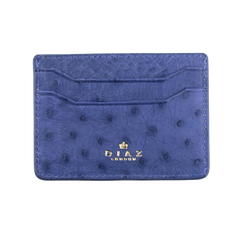 Steel Blue Genuine Ostrich Leather Cardholder