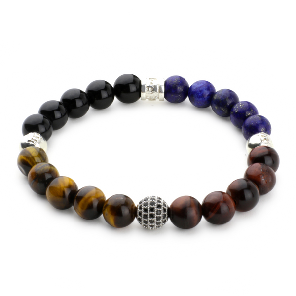 Tiger Eye, Lapis Lazupi, Onyx with CZ Diamond Shamballa Bracelet