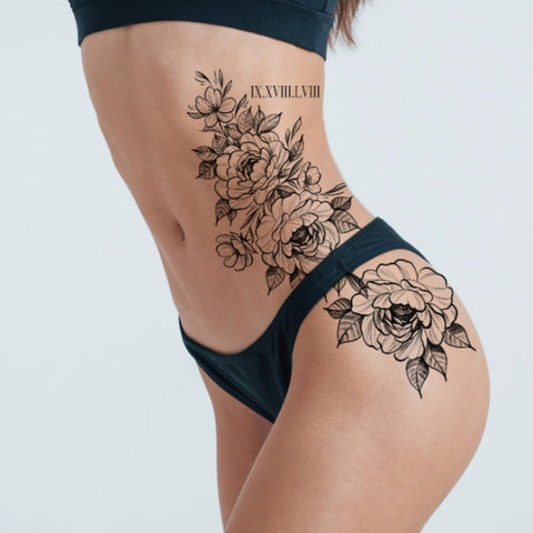 Floral Sexy Temporary Tattoo for Side of Body to Hip Area and Roman Numeral Numbers