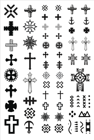 Crosses Temporary Tattoos. Tiny Tats. 2 sheets