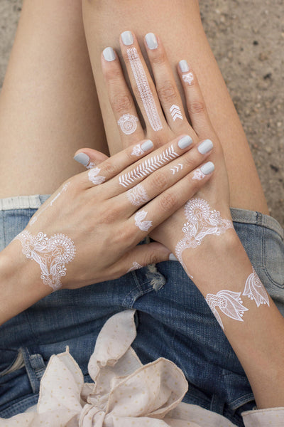 White Henna Temporary Tatoos. 2 sheets