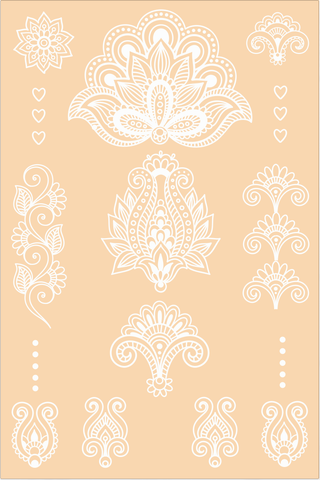 White Henna Temporary Tattoo. Hearts Set. 2 sheets
