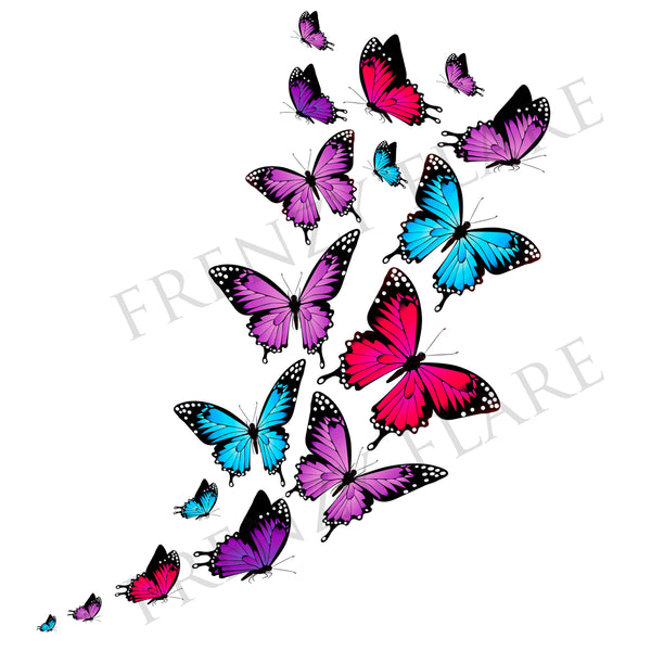 Butterfly Temporary Tattoos. Colorful Butterflies in Different Shapes and Sizes