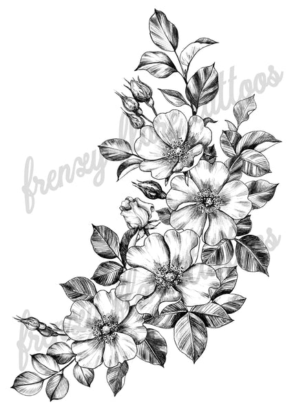 Floral Sexy Temporary Tattoo for Hip, Thigh and and Side of Body. Dog Roses Line Art