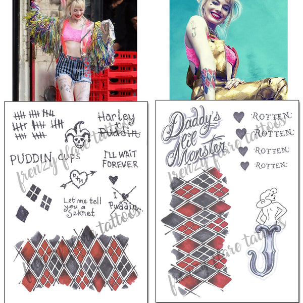 Harley Quinn Birds of Prey Temporary Tattoos for Cosplayers