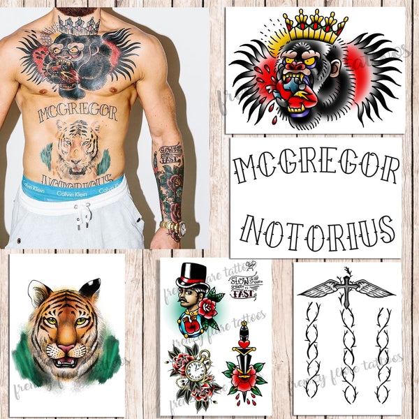 Conor McGregor Temporary Tattoos for Cosplayers. Real Size. 5 sheets Include Gorilla, Tiger, Arm Traditional Style Tattoos and Back Crucifix