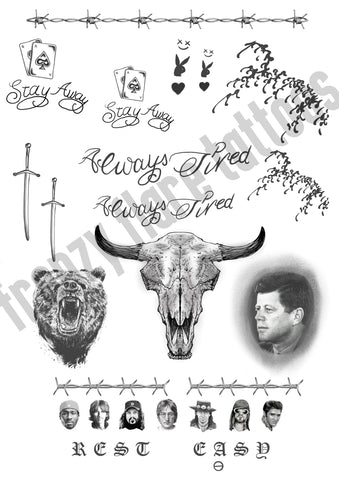 Post Malone Temporary Tattoos for Cosplayers and Fans. Face Tattoos, Hands, Arms and Legs Designs