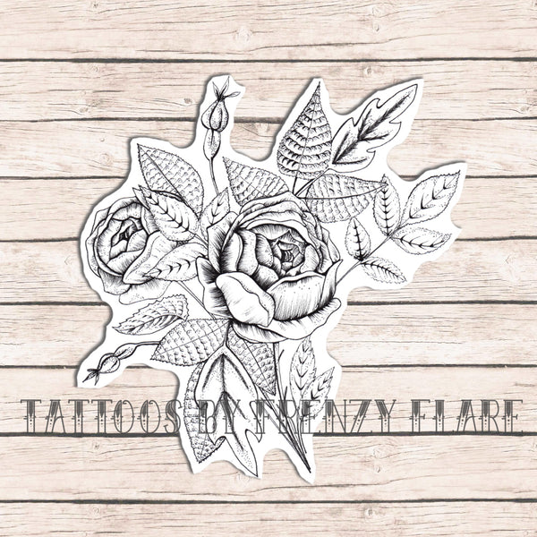 Rose Bouquet Temporary Tattoo