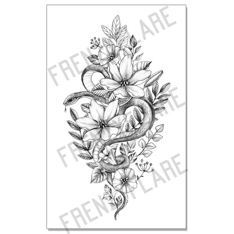 Snake Floral Temporary Tattoo, Sexy Serpent With Leaves. Line Art Large Piece for Back, Thigh, Arm or leg. Unisex