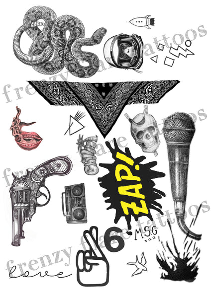 Zayn Malik Inspired Temporary Tattoos 2017. Complete set, 2 full pages with real size tattoos up to date. Perfect for music costume party