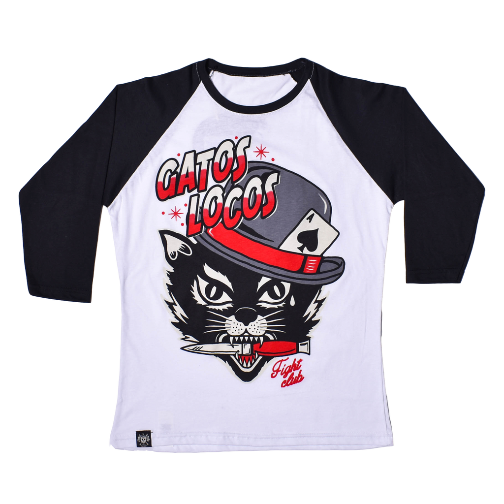 RAGLAN T SHIRT WOMEN Gatos Locos - 3/4 Sleeve