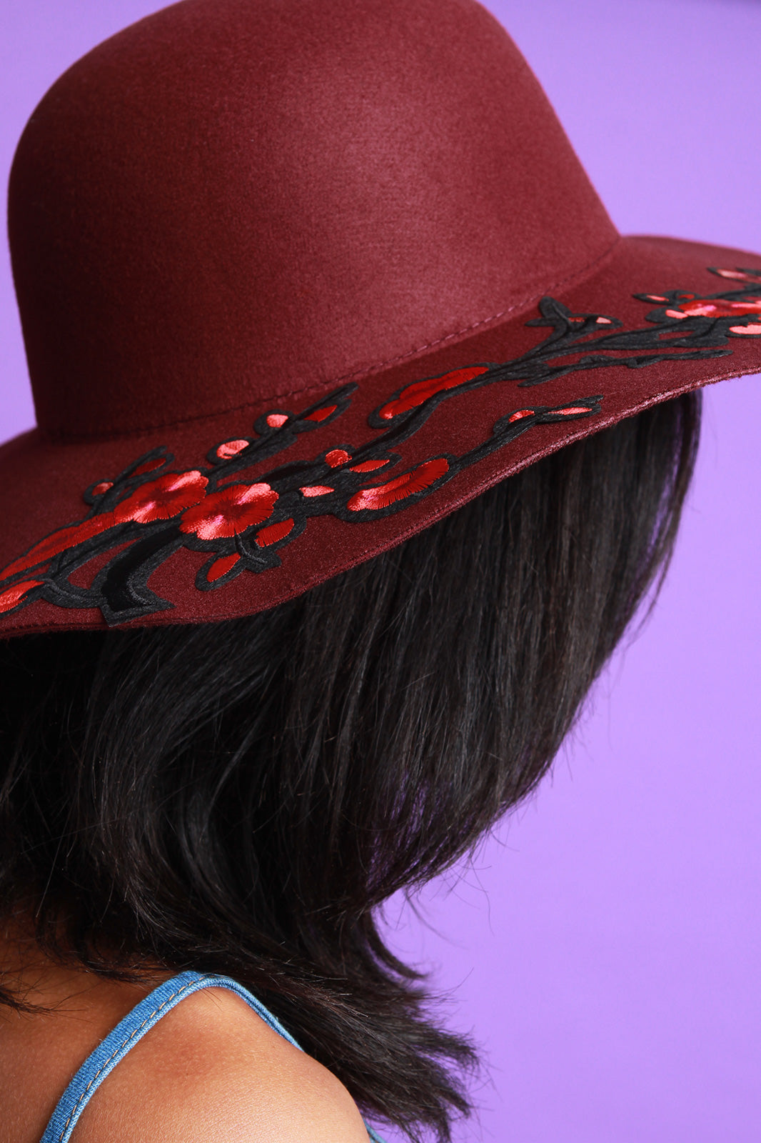 Embroidered Floral Accent Felt Floppy Hat