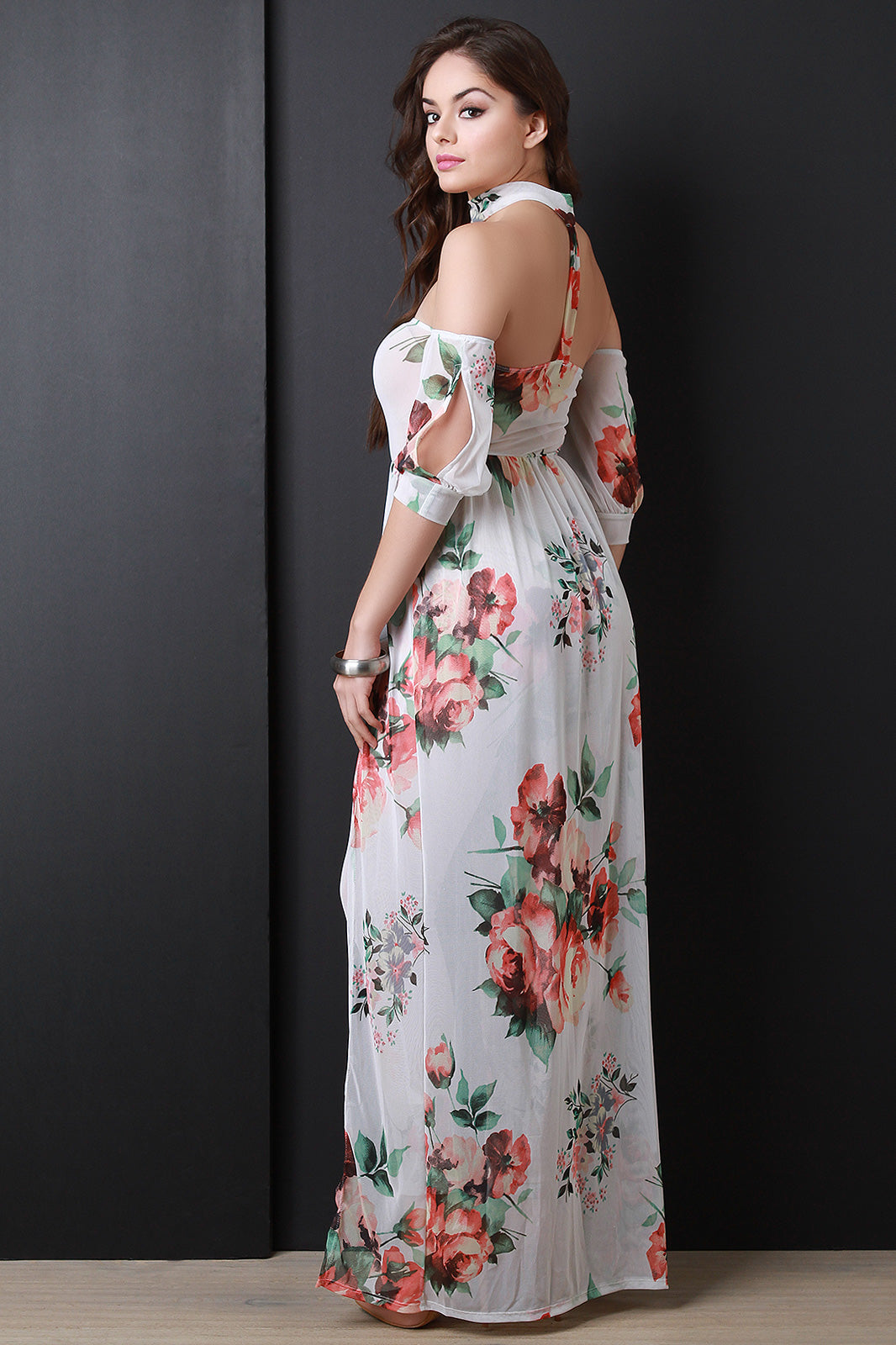 Floral Mesh Choker Jumpsuit Maxi Dress