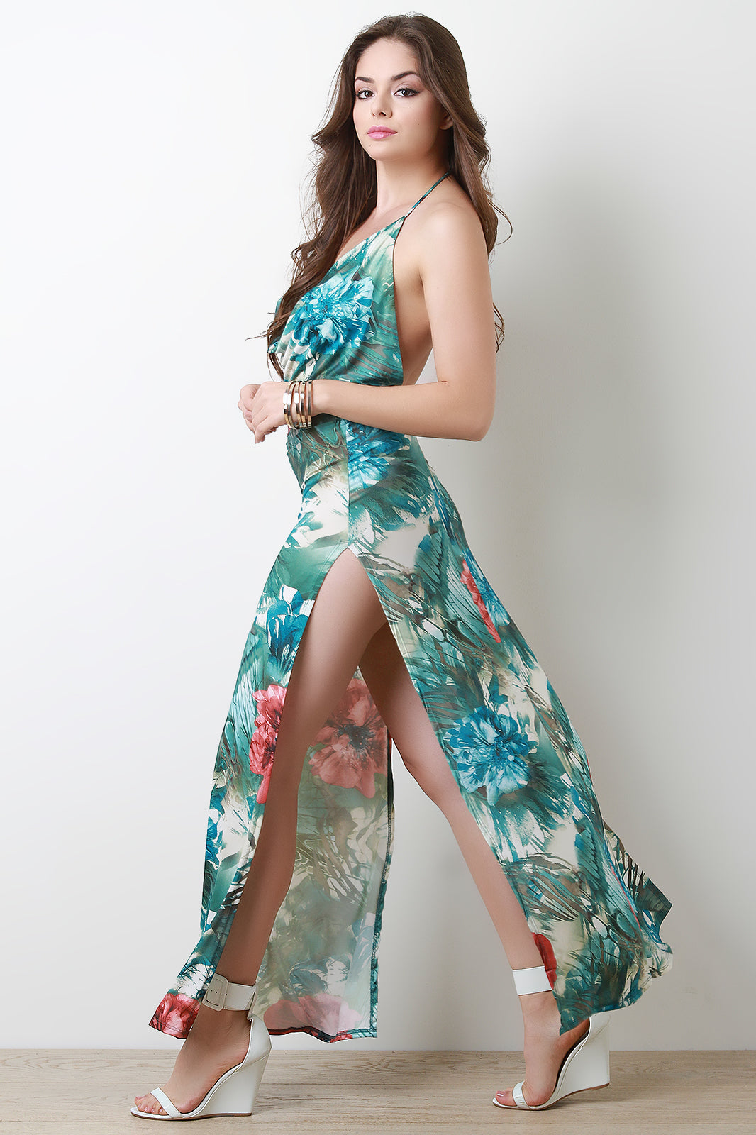 Floral Draped Halter Double Slit Maxi Dress