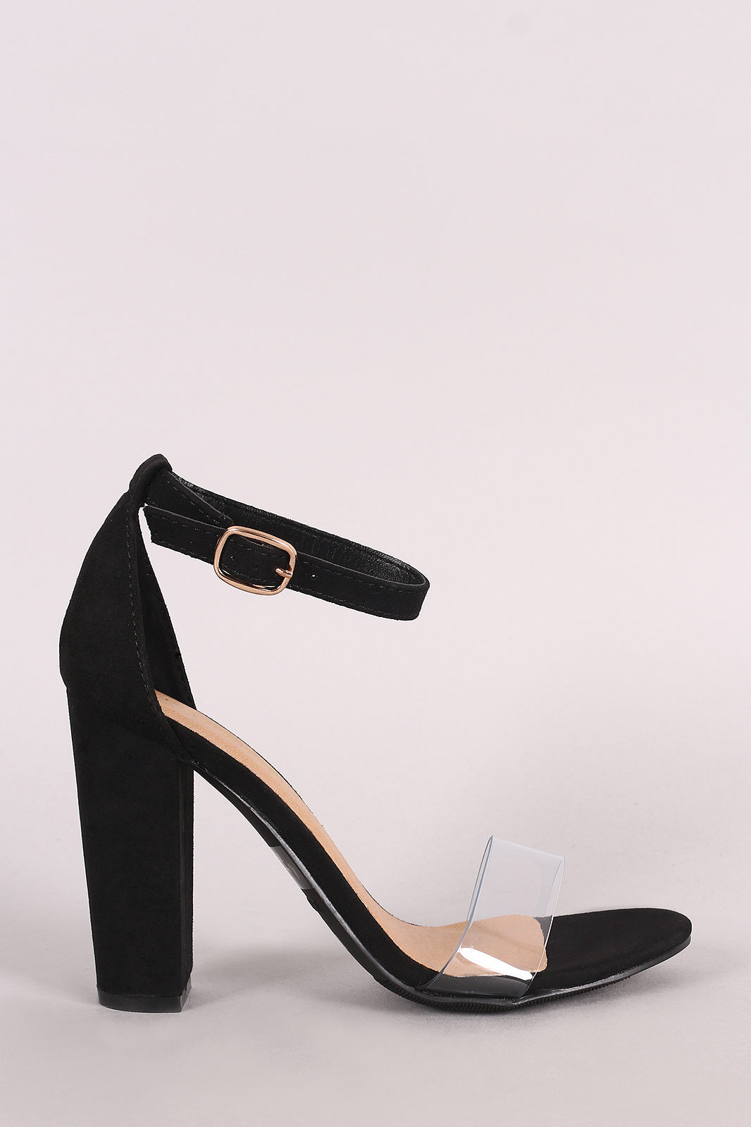 Bamboo Suede Open Toe Clear Strap Chunky Heel