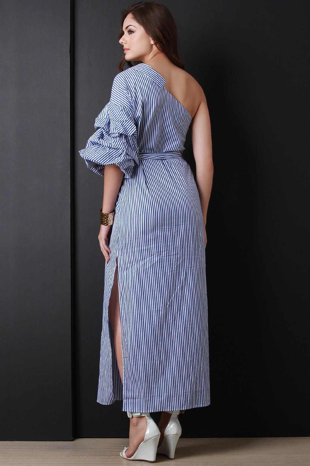 Asymmetrical One Shoulder Ruched Striped Maxi Dress