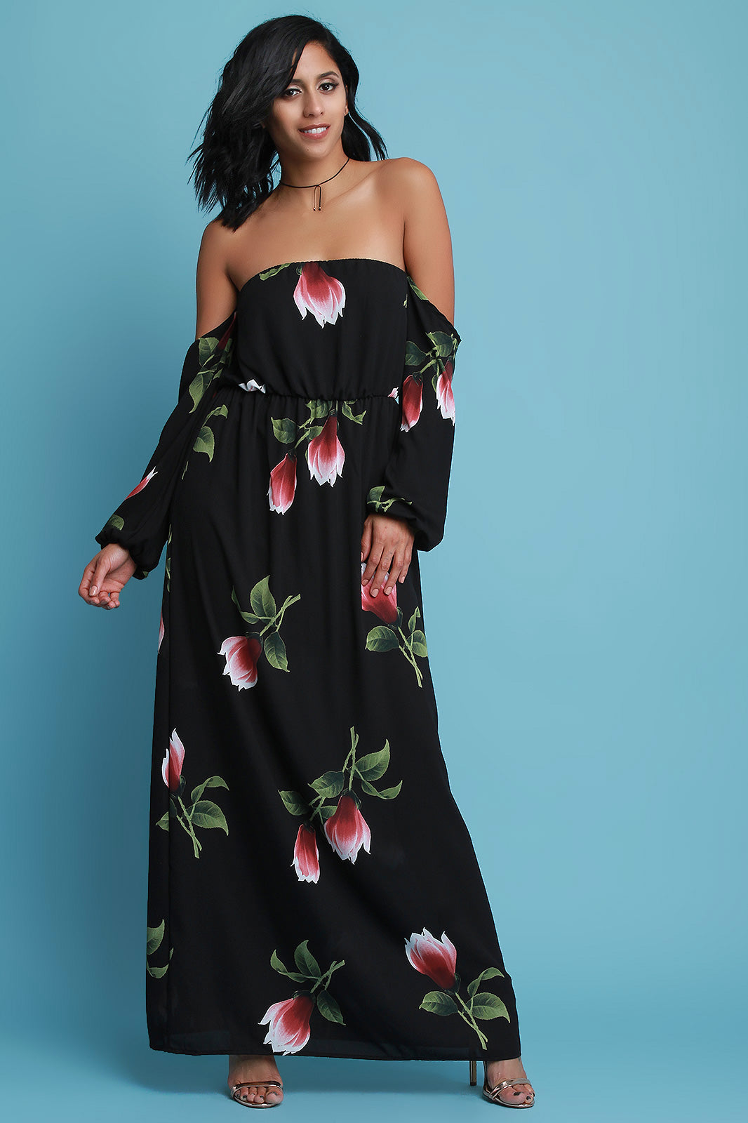 Strapless Floral Print Long Sleeve Maxi Dress
