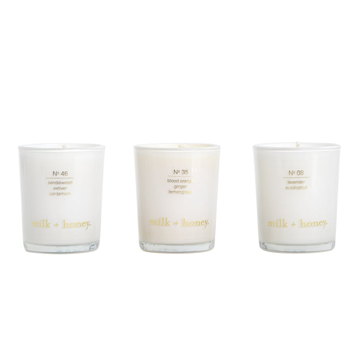 Essential Oil Votive Trio Candle milk + honey