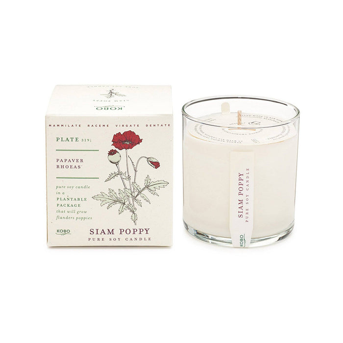 KOBO Candles | Plant the Box Collection Full Size Candle KOBO Siam Poppy (red currant, poppy stems, lemon)