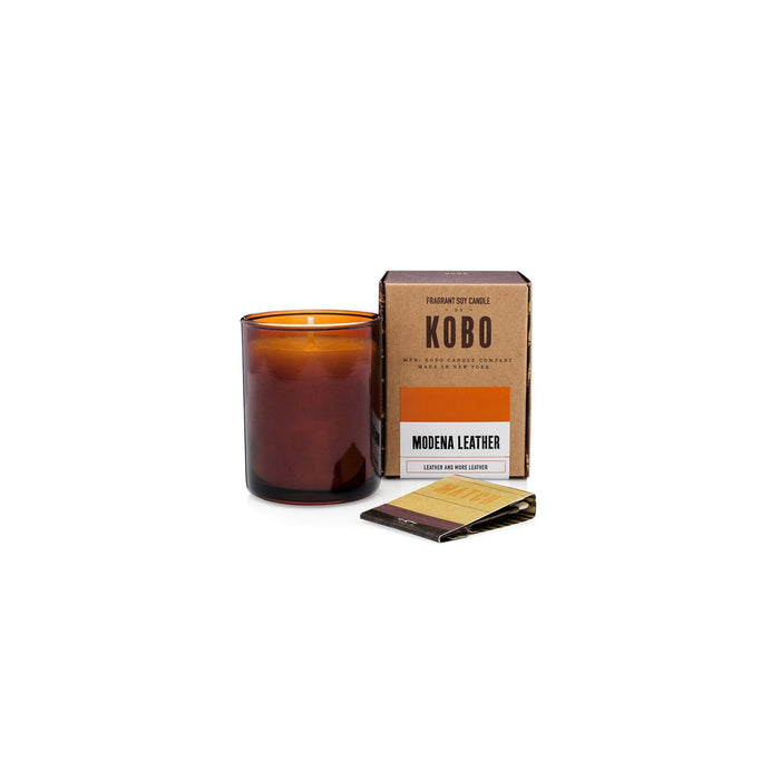 KOBO Candles | Woodblock Collection Votive Candle KOBO Modena Leather (leather and more leather)