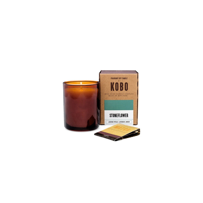 KOBO Candles | Woodblock Collection Votive Candle KOBO Stoneflower (jasmine petals, lavender, amber)