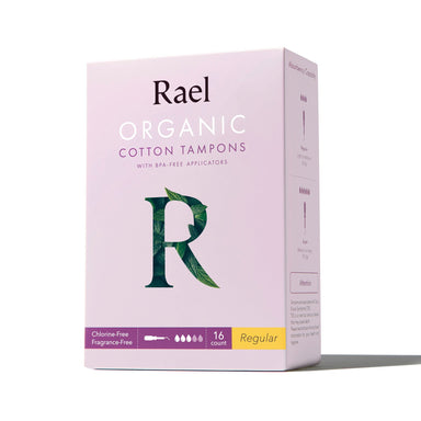 Rael Organic Cotton Core Tampons with BPA-Free Applicators Tampons Rael