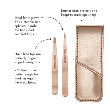 Tweezerman Rose Gold Petite Tweeze Set Tools Tweezerman
