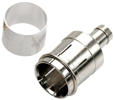 F (plug) connector for RG59 coaxial cable with integrated press-on ring (200-042)