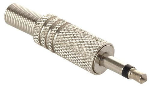 3.5 mm, silver metal, audio plug for microphone extensions (250-145)