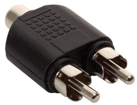 2 RCA (plug) Connectors to RCA (jack) Connector, Adapter (251-025)