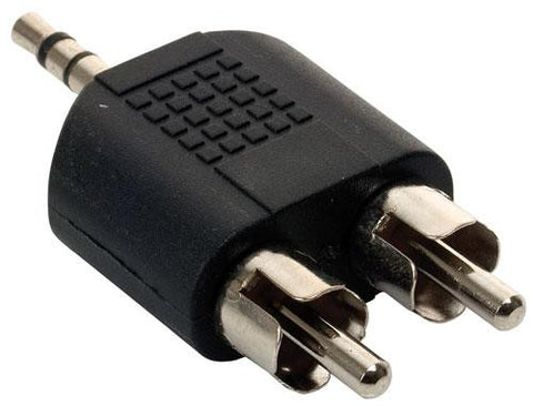 2 RCA (plug) Connectors to 3.5 mm Stereo (plug) Connector, Adapter (251-037)