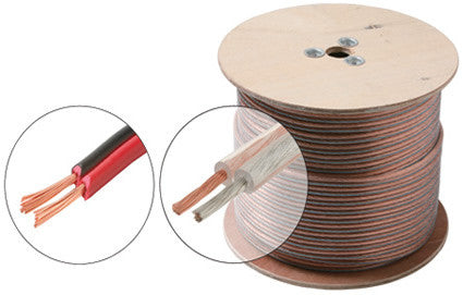 1000' 18AWG 2C Speaker Cable - Clear or Red/Black (255-318)