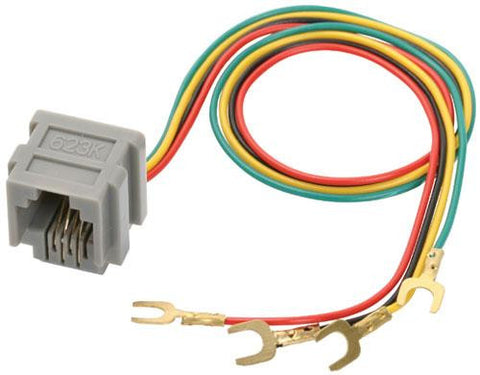 4-pin RJ11 (Jack) Connector with Cable for Telephone Wall Plate (300-085)