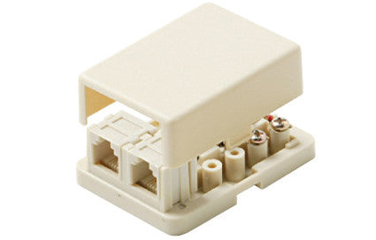 4-Conductor 2-Tel Surface Jack - Ivory or White (300-146)