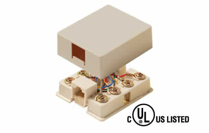 6C Tel Surface Jack - Ivory or White (300-147)