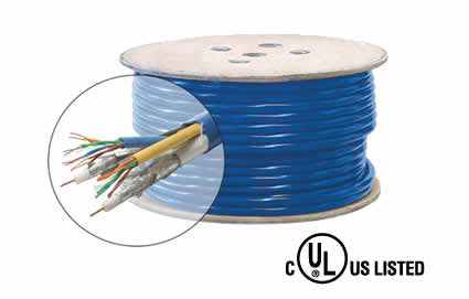 500' 2Cat5e + 2-RG6/Quad Bundled UL Cable, BL (300-774)