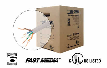 1000' 4 Pair Cat6 UTP UL CM Cable, Reel in Box - Multiple Colors (300-786)